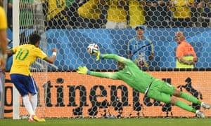 Neymar beats Croatia's goalkeeper Stipe Pletikosa.
