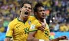 Neymar's penalty goal is celebrated by Hernanes