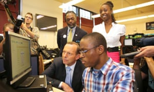 Tony Abbott during a visit to the P-Tech school in Brooklyn, New York, in June.