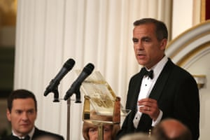 Mark Carney, Governor of the Bank of England giving his speech at the Lord Mayor's Dinner to the Bankers and Merchants of the City of London at Mansion House, central London.