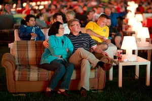 Sofa football: German soccer fans watch the opening game while sitting on sofas