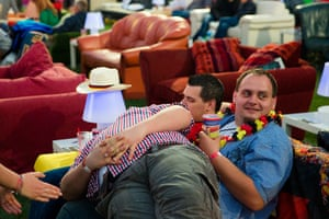 Sofa football: There's a relaxed atmosphere in the stadium