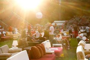 Sofa football: Fans enjoy the late afternoon sun