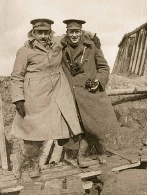 Two officers of the Loyal North Lancashire Regiment pose for the camera in February 1915. The private possession of cameras had been banned by the army on Christmas Eve 1914. Nevertheless, the officer on the right is holding a Vest Pocket Kodak