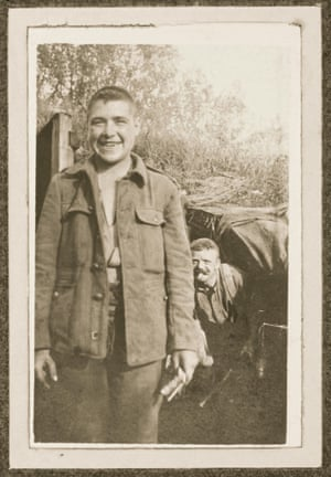 'Always smiling' says the accompanying caption. Private Rogers, 1/7th West Riding Regiment, taken outside a dugout near Ypres in August 1915