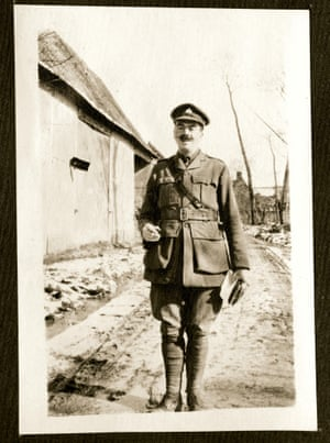 Lieutenant Evelyn Southwell, a former master at Shrewsbury School. This picture was taken near Arras in early 1916. He was killed on the Somme in September.