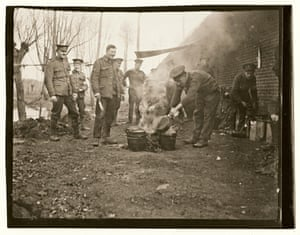 Cooks of the 14th Field Ambulance prepare a beef and vegetable stew in dixies, October 1914.