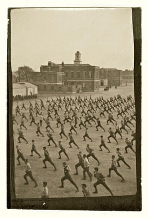Over 1.1 million men volunteered to fight in 1914. These men are undertaking physical training known as 'Swedish Drill' in June 1915.