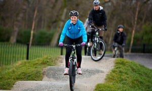 Helen Pidd rides on the mountain bike trails at the national cycling centre in east Manchester.
