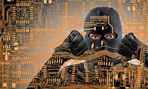 Masked man behind microchip pattern