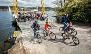 Rachael Oakden and family ride off from the Bowness ferry