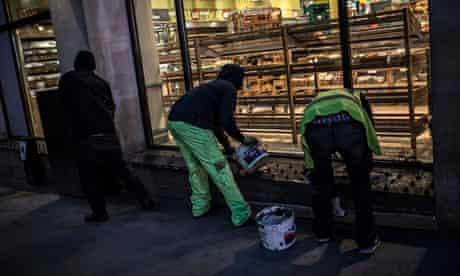 London Black Revs concrete over anti-homeless spikes outside Tesco in Regent Street.