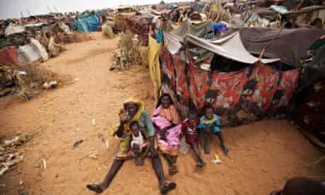 Women and children at a refugee camp in north Darfur, Sudan, after fleeing militia attacks