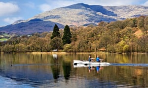 Rowers on Coniston Water, Cumbria