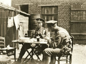 Geoffrey Woodroffe (left) and Eric Vine, both of the Artists' Rifles, resting in billets, July 1915