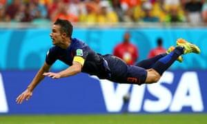 Robin van Persie of the Netherlands scores the equalising goal.