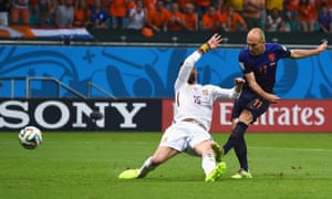 Arjen Robben of the Netherlands scores his teams second goal.