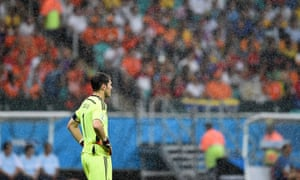 Spain's goalkeeper Iker Casillas reacts after the fourth goal.