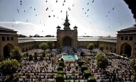 Kashmiri Muslims pray at the Jamia masjid in Srinagar.