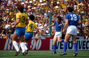 Paolo Rossi scores with a header for Brazil during a game against Italy at the 1982 World Cup in Spain