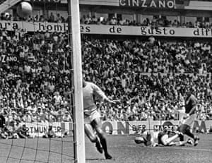 Uwe Seeler scores against England