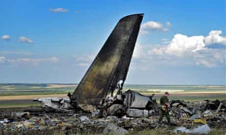The wreckage of the Ukrainian Il-76 jet brought down at Lugansk.