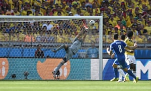 Colombia's goalkeeper David Ospina saves a shot from Greece's midfielder Panagiotis Kone.
