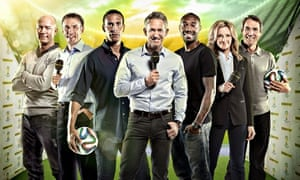Gary Lineker fronts the BBC's World Cup broadcast team, above.