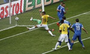 Colombia's forward Teofilo Gutierrez scores.