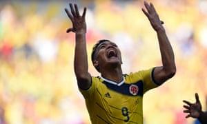Colombia's forward Teofilo Gutierrez celebrates after scoring the second goal.