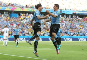 The Uruguayan's celebrate.