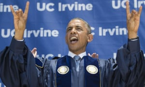 US President Barack Obama yelled 'Zot, Zot, Zot', as he makes the symbols of the Anteater, the mascot for the University of California-Irvine.