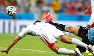 A close-up shot of Costa Rica's Oscar Duarte heading home the second goal.