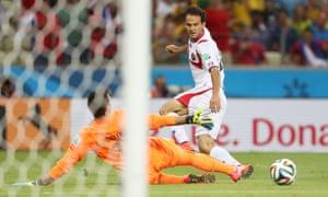 Costa Rica's Marco Urena scores their third goal.