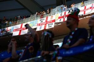 England v Italy: The England fans mark their territory