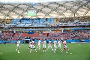 England versus Italy: England players warm up