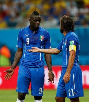 England versus Italy: Mario Balotelli attempts to explain himself to Pirlo