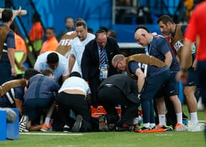 England versus Italy: Gary Lewin stretchered off