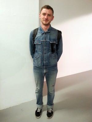 What I am wearing today... Jack Sunnucks, editor Love magazine. Double denim, vintage Gap. Trainers, Vans London Men's Fashion Week SS15, 15th June 2014 lcmplog