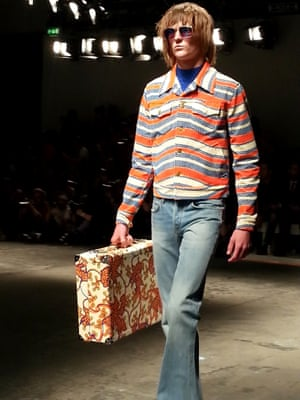 Topman Design's trip to Woodstock. Psychedelic prints, flares on corduroy and denim. Refresher sweet shades. Want that suitcase! London Men's Fashion Week SS15, 15th June 2014 lcmplog