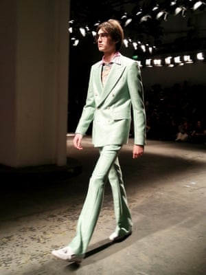 Glitter mint suit, pure Mick Jagger. London Men's Fashion Week SS15, 15th June 2014 lcmplog