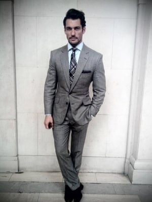 What I am wearing...David Gandy.  David Gandy - LCM ambassador, male supermodel, J.Lo video star, and now underwear designer. An exclusive underwear collection  with M&S has been announced today,  due in stores this September. The other David (Beckham) needs to watch his back. Welsh and jefferies saville row suit M & S shirt John lobb shoes Omega bullhead watch Tom ford tie London sock co - socks London Men's Fashion Week SS15, 15th June 2014 lcmplog