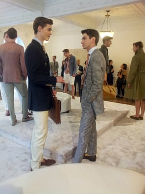 """Dunhill - """"Escape"""". A wardrobe for both escape to the countryside or a far flung beach in Mustique. The Dunhill man is always ready for a swift and chic exit, no checked baggage here. London Men's Fashion Week SS15, 15th June 2014 lcmplog"""