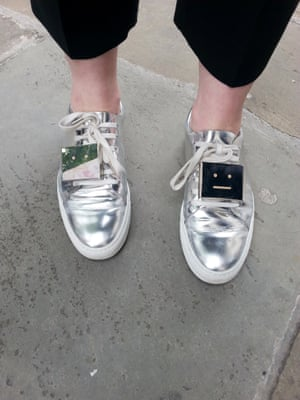 Laura Macey, director, The Communication Store PR agency in Acne Studios emoticon silver shoes.