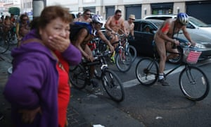 Los Angeles: Cyclists take part in the World Naked Bike Ride.