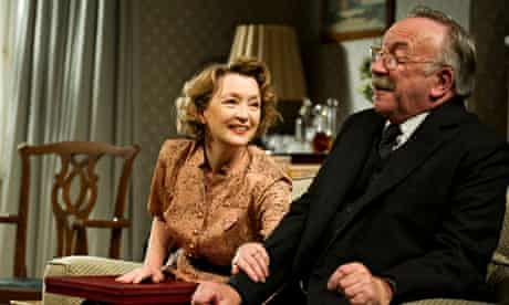 Sam Kelly and Lesley Manville in Mike Leigh's play Grief in 2011.
