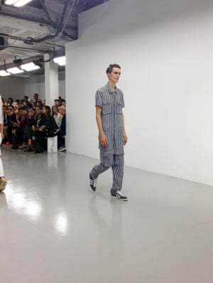 Richard Nicoll does love a boiler suit and this season is no exception. Other things to note: jumpers and shorts are a good look, navy and poppy red works, boys can wear hair bands too and Nicoll is a master of the sporty jacket.  London Men's Fashion Week SS15, 15th June 2014 lcmplog