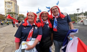 French soccer fans on their way to the stadium for the FIFA World Cup 2014 group E preliminary round match between France and Honduras at the Estadio Beira-Rio in Porto Alegre