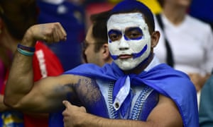 A Honduran fan poses prior to a Group E football match between France and Honduras at the Beira-Rio Stadium in Porto Alegre during the 2014 FIFA World Cup.