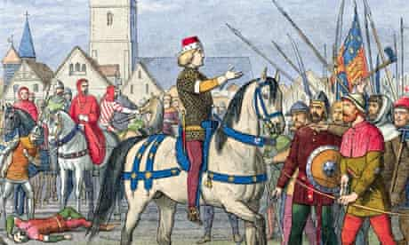 The people confront the king in the Peasants' Revolt of 1381